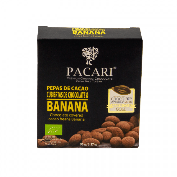 Cocoa beans covered in banana